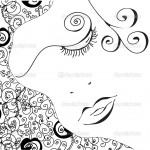 Abstract woman face with swirl pattern