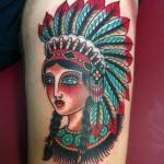tatouage femme américain jambe