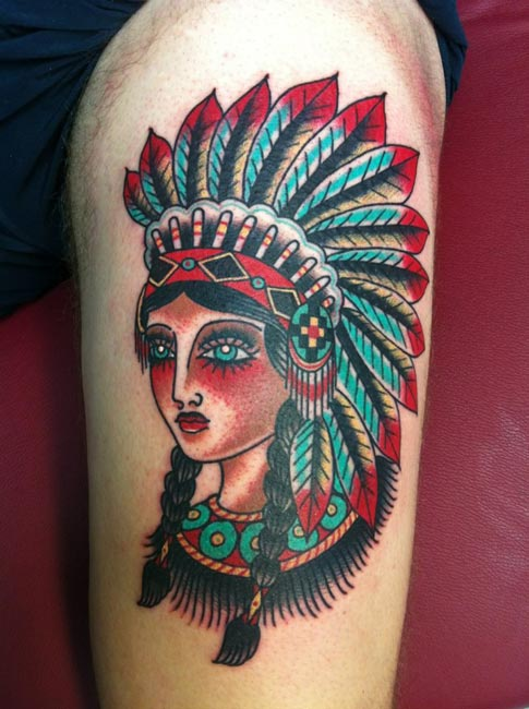 Tatouage Femme Americain Jambe