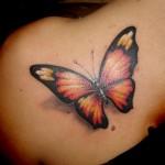 Tatouage femme épaule Papillon réaliste