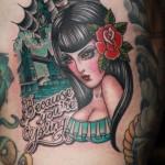 tatouage femme sinistre en couleur