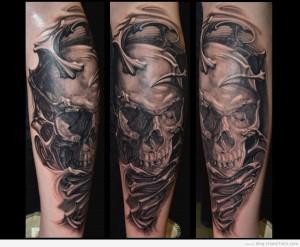 tatouage tete de mort réaliste