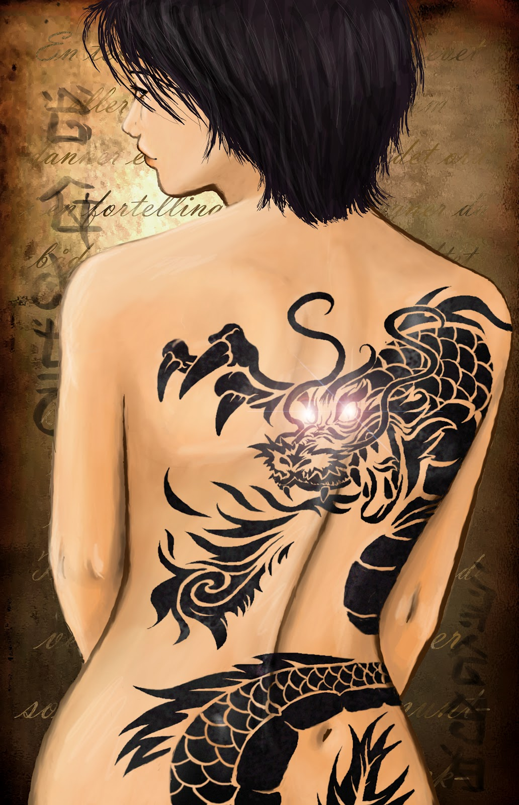 Tatouage Femme Dragon Tribal Dos