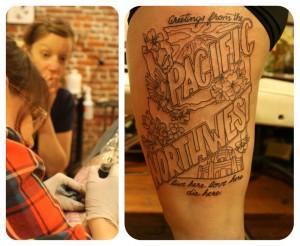 tatouage femme cuisse lettrage